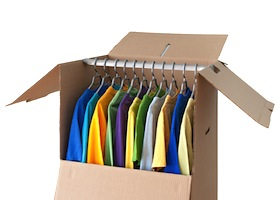 Colorful Clothing In A Wardrobe Box For Easy Moving
